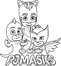 Pj Masks Coloring Page Mask And Birthdays On Pages Online Sketch Pag
