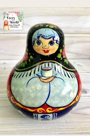 100 Matryoshka Kitchen Russian Nesting Doll Wooden Coin Bank Babushka Doll Holding Tea Unique Doll Kitschy Decor Potbelly Wide Nesting Doll