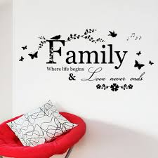decorative words for walls family never ends butterfly flower quote vinyl wall decal