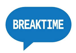 BREAKTIME Text In Blue Speech Bubble Simple Sign With Rounded Corners Stock Photo