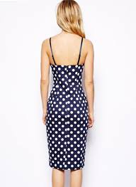blue spaghetti strap polka dot dress abaday com