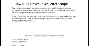 Truck Driver Resume Template Great Sample Tow Cover Letter