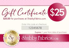 Quilting Gift Certificates | Shabby Fabrics Salon Gurus Its A Journey Charlie Hustle Coupon Code Publix Georgia Marathon Discount Daniel Jewelry Inc Coupons Deals On Vespa Scooters Blog Wwwtgnewbornscom Country Crock Potatoes Insert Earms Stunning Fit For Queen Newborn Pink Rhistone Golden Itsa Tesco Free Uk Sale Use Ho 30 Off I Never Knew How