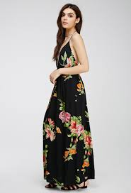 forever 21 floral crossback cami maxi dress in black lyst