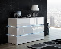 kommode shine sideboard 120 cm weiß hochglanz weiß led beleuchtung modern design tv möbel anrichte sigma