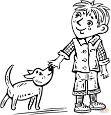 Little Boy Coloring Pages Walking His Dog Page Free Printable Sheets