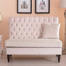Tufted Velvet Sofa Bed by New Modern Tufted Settee Bedroom Bench Sofa High Back Cushion Seat