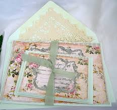 Wedding Invitation Vintage Frame Mint Green And Rose Linen With Doily Paper Lace Envelope Shabby Chic Custom Any Color 2276463
