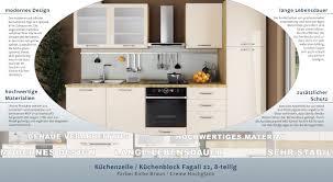 küchenzeile küchenblock fagali 22 8 teilig farbe eiche braun creme hochglanz