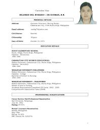 Sample Resume For Fresh Graduate Nurse In The Philippines Best
