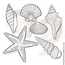 Digital Seashell Stamps Decor Starfish Summer Beach Vector Clip Art DIY Birthday Party Baby Shower Invitations Scrapbooking