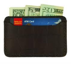 brown leather front pocket credit card wallet crocodile grain