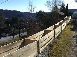 Long Row Of Pallet Collar Raised Garden Beds In The Planter