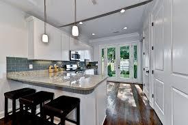 modern gray kitchen subway tile blue gray glass tile kitchen