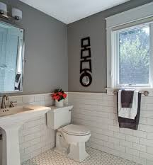 white subway tile grey grout bathroom traditional with elk