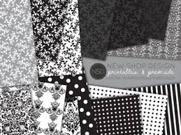 Black And White Damask Digital Scrapbook Paper Pack