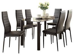 Amazon.com - Feister Ultra Modern 7PC Dining Set Table Glass ... Details About Set Of 5 Pcs Ding Table 4 Chairs Fniture Metal Glass Kitchen Room Breakfast 315 X 63 Rectangular Silver Indoor Outdoor 6 Stack By Flash Tarvola Black A 16 Liam 1 Tephra Alba Square Clear With Ashley 3025 60 Metalwood Hub Emsimply Bara 16m Walnut Signature Design By Besteneer With Magnificent And Ding Table Glass Overstock Alex Grey Counter Height