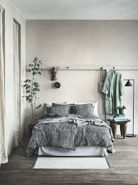 Gorgeous Suede Textured Bed Cover Gray Wood Floors Soft Walls And