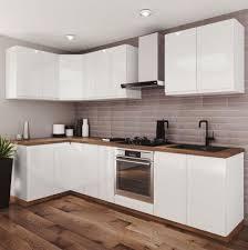 moderne küche eckküche weiß glanz grifflos soft system