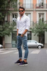 Mens Street Style Striped Shirt Blue Jeans Trainers