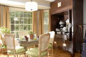 Horrible Antique Asian Dining Room Decor Ideas With Cream Hanging Curtains And Drum Pendant Lighting Over Round Table Plus Rattan Along