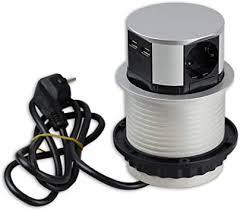 versenkbare steckdose für küche und büro runde einbausteckdose ideal für arbeitsplatte als tischsteckdose oder unterbausteckdose mit 3 fach