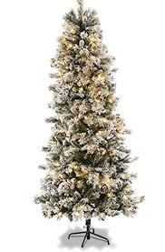 7 Ft White Pre Lit Christmas Tree by 7ft Slim Flocked Spruce Pre Lit Christmas Tree Amazon Co Uk