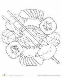 Kids Sushi Coloring Page