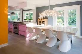Transitional Decorating Style Kitchen Contemporary With Pink Island Pendant Light Orange Wall