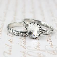 Wedding Ring Set Sterling Silver 8 Mm Rose Cut Swarovski Crystal Vintage Style
