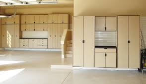 garage makeover design with light brown painted color custom wood