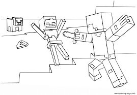 Minecraft Steve Vs Skeleton Coloring Pages Printable
