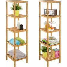 bambus standregal 5 böden regal handtuchhalter badezimmer regal braun