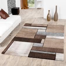 moderner teppich wohnzimmer kurzflor teppich karo muster in