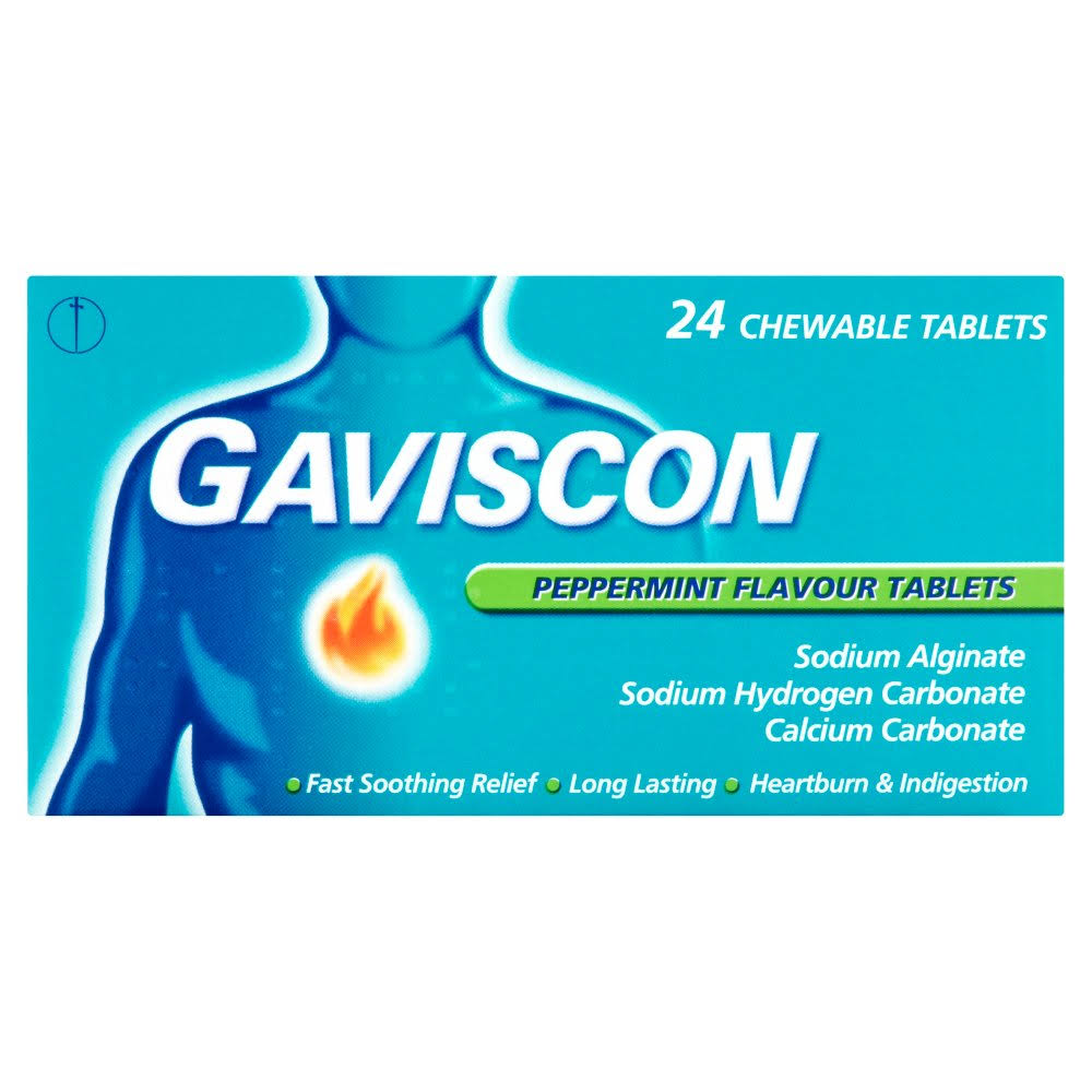 Gaviscon Peppermint Flavour Tablets - 24 Chewable Tablets