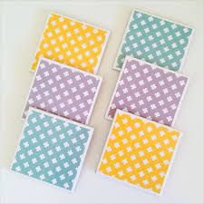 cross coasters 6 ceramic tile drink coasters mint yellow grey