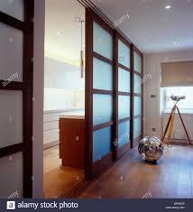 Japanese style sliding door separating kitchen area in modern room