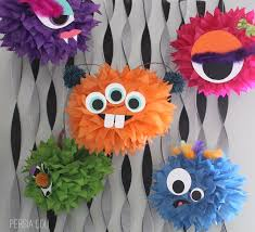 Use Diamond Blue And Coral Tissue Paper Poms To Create The Look Dont Forget Scissors Glue