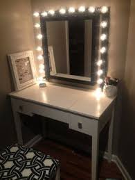 vanity table with lights around mirror home decor xshare us