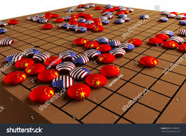 3D Go Board Game Concept Strategy American Versus China In War Clipping Path
