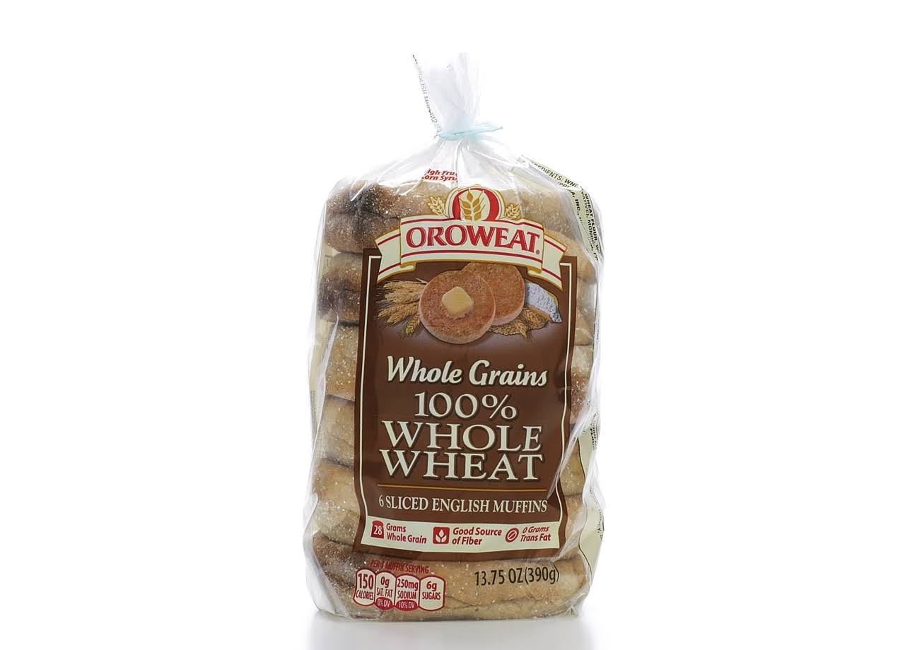 Oroweat 100 Whole Wheat Sliced English Muffins Bread - 6ct, 13.75oz
