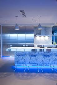wonderful blue led light the kitchen island also bar stools