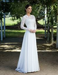 Has A Structured Waisted Bodice With Corded Long Lace Sleeves Soft Floaty Chiffon Full Circle Skirt Perfect For Garden Winter Wedding