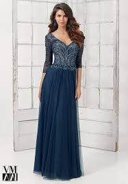 mori lee beaded chantilly lace evening dress 71119