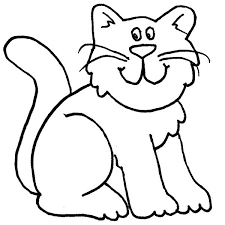 A Cartoon Drawing Of Funny Kitty Cat Coloring Page