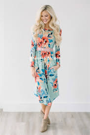 mint tropical floral pocket modest dress modest dress for