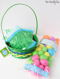 I Went The More Traditional Easter Basket Route With These Ideas So Were Starting Round Bamboo Baskets Green Grass And Bright Plastic Eggs