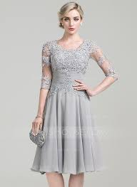 a line princess scoop neck knee length chiffon mother of the bride