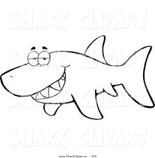 Coloring Page Outline Design Of A Grumpy Shark Glancing Around