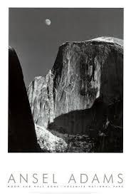 Moon And Half Dome Yosemite National Park 1960 Art Poster Print By Ansel Adams